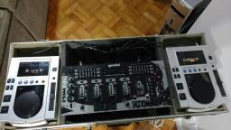 Par de cdj pioneer com Mixer Gemini pdm 24s