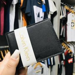 Carteira Masculina Couro Calvin Klein CK Preto Porta Cartões Notas