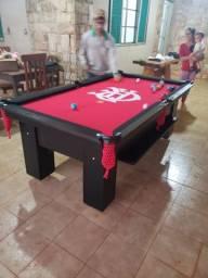 Mesa Charme de Bilhar Cor Preta Tecido Vermelho Logo Flamengo Mod. PTHB4311