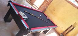 Mesa Charme de Bilhar Cor Preta Tecido Preto e Borda Vermelha Mod. VDWH2971