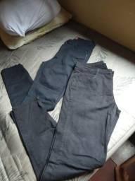 3 calças jeans +cinto de couro