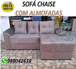Peça Ja e Receba No Mesmo Dia!!Sofa Chaise Com Almofadas Novo Apenas 649,00