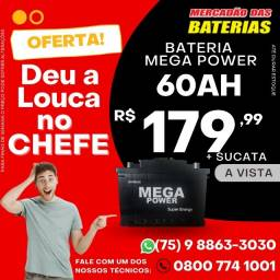 Baterias  Mega Power 60Ah, Bateria com 06 Meses de Garantia.