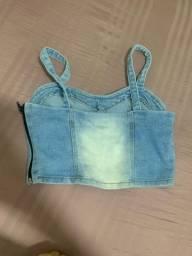 Título do anúncio: Vendo cropped jeans, valor 10,00