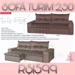 Sofá retrátil reclinável 2.50m