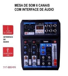 Mesa De Som Compacta 6 Canais C/ Bluetooth Interface de Áudio