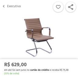 Kit 3 cadeiras escritório  Eames caramelo