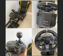 cokpit extreme sim rancing x retratil + volante G920 + câmbio