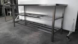 Mesa Inox AISI 430 com duas grades reforçada - Produto Industrial