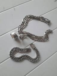 Vendo cordão, pulseira e dois anéis de prata 925