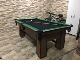 Mesa de Bilhar Tecido Preto Bordas Verdes Modelo VVT2147