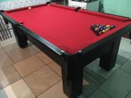 Mesa de Sinuca Preta TX 220 x 120 Tecido Vermelho Modelo BRA1313