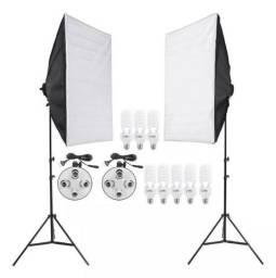 Kit 2 softbox 50x70 + 8 lâmpadas 5500k vídeos e fotos - 110v