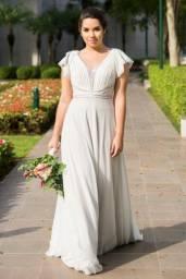 Vestido Noiva Tam 42 - Prata / Off White