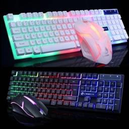 Conjunto de teclado e mouse brilhante, teclado USB, mouse USB