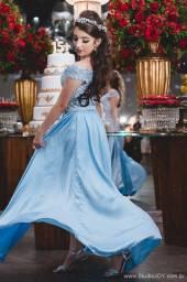 Vestido Curto 2 em 1 Azul Claro Debutante