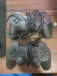 Dois Controles Usb Modelo Playstation 3 Pc, nunca usados