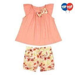 Conjunto De Blusa + Short Floral Tip Top - Tamanho 10 anos