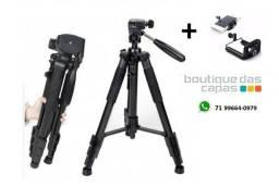 Tripe de aluminio preto para camera e celular até 1,50M - BJ-1200
