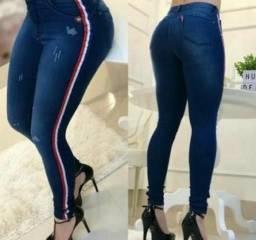 Calças feminina nova moda tendencia cos alto listras