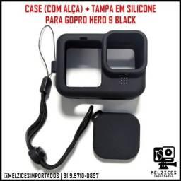 Case(Com alça) + Tampa em Silicone Para GoPro Hero 9 Black