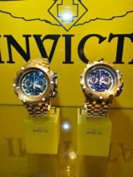 Relógio invicta Venom hybrid detalhe gold