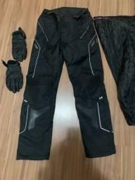 Calça e luvas x11 para moto