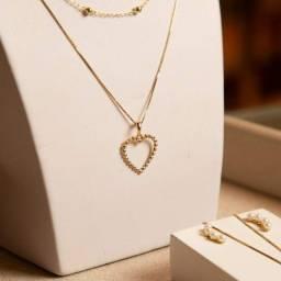 Colar com Pingente coração em Ouro 18k