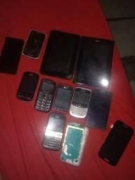 Lote de telefones e 2 tablet pra peças
