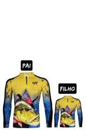 Camisa camiseta de Pesca kit Pai e Filho com proteção UV apronta entrega.