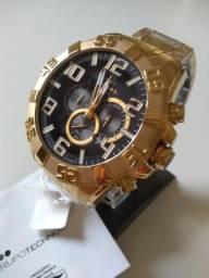 Ultimo! Relógio Tehcnos Legacy CARA PRETA Serie Ouro. 3 Cabeças Novo NF