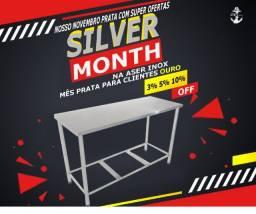 Mesas inox 100% mês prata na aser inox