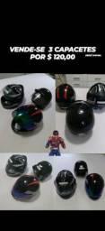 3 capacetes semi novos