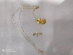Cordão de ouro mais 2 pingentes