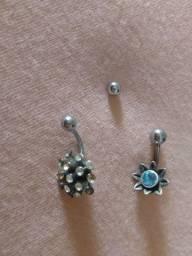 Piercing para umbigo em aço cirúrgico e prata