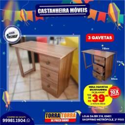Mesa 3 Gavetas, Escrivaninha, 10x  de R$ 39,90, sem Juros!!