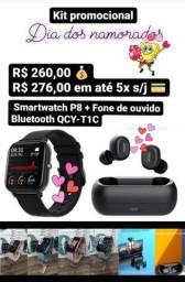 Smartwatch P8 + Fome de ouvido Bluetooth