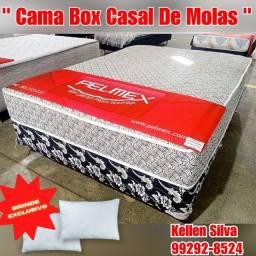Título do anúncio: cama box casal de molas + 2 travesseiros de brinde &&