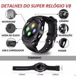 Relógio Smartwatch V8 Conecta no Celular / Câmera / Esportivo