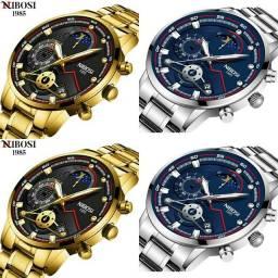 Relógio Masculino Nibosi 2503, lançamento. Dourado e prata ATACADO/VAREJO