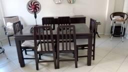 Jogo de janta em mogno balcão, mesa e seus cadeiras