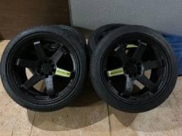 rodas rays TE37 5x114 aro 18 com pneus