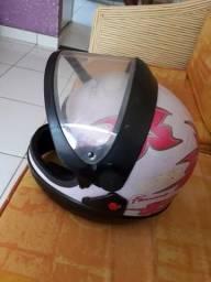 Vendo capacete e salto veludo rosa