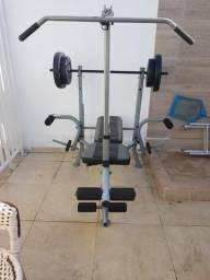 Aparelho de academia completo com pesos, caneleiras e barra para agachamento livre