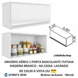 01 Armário de Cozinha Aéreo 1 Porta basculante Itatiaia Madeira Branco - Lacrado