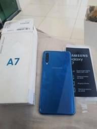 V/T por S8 A7 2018 64gb azul novinho caixa sem marca de uso