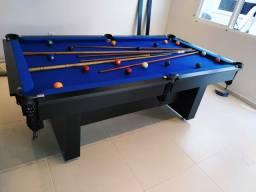 Mesa de Bilhar Encanto Preta Tx Tecido Azul Modelo KFJ4587