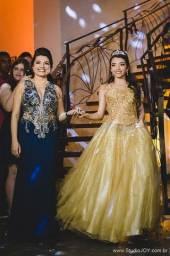 Vestido Debutante Dourado Semi Novo