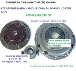 Kit de embreagem palio/uno 1.0 8v fire colocado 590,00