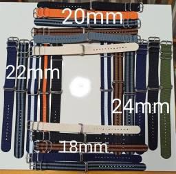 Nato Zulu 5 argolas 18, 20, 22 e 24mm. Robusta e confortável!